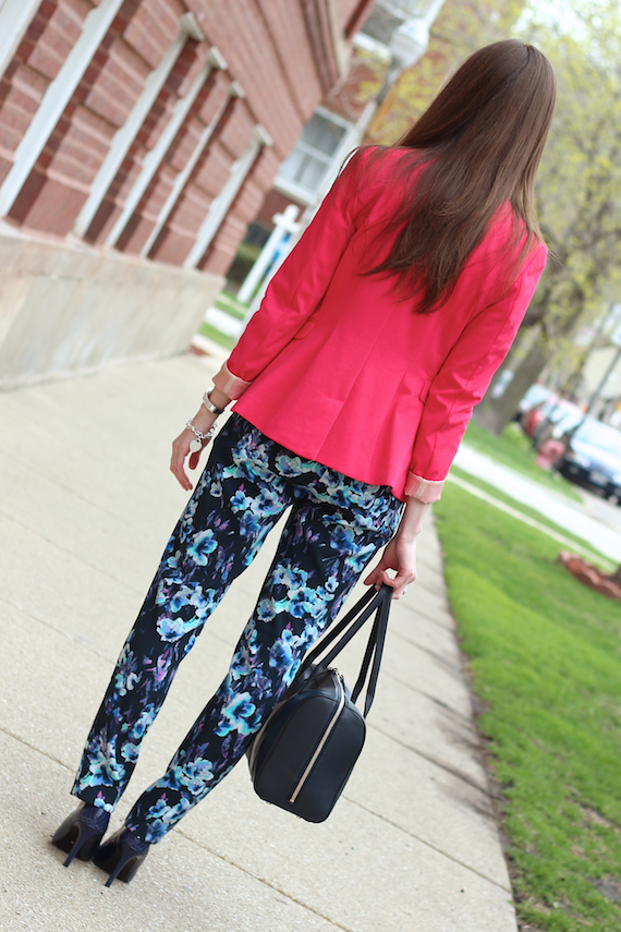 Hot Pink Blazer, Blue Floral Ankle Pants | StyleSidebar