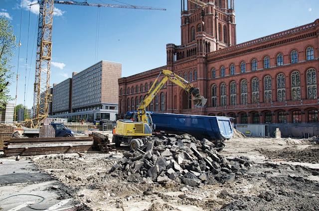 Baustelle Erweiterung der U-Bahn Line 5, Am Roten Rathaus, Karl-Liebknecht-Straße, 10178 Berlin, 16.04.2014