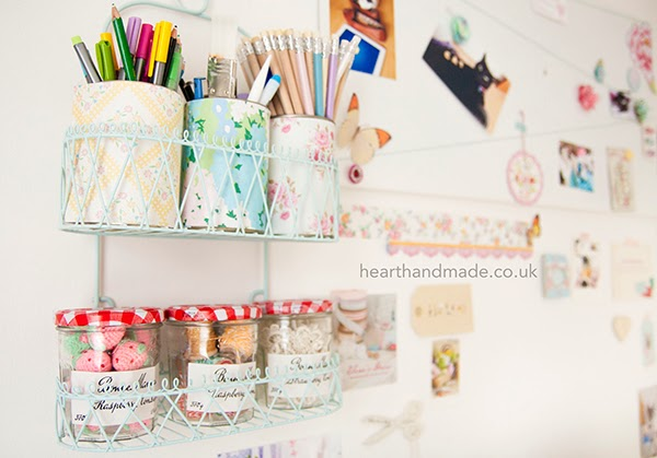 painted shower caddy and bonne maman storage jars