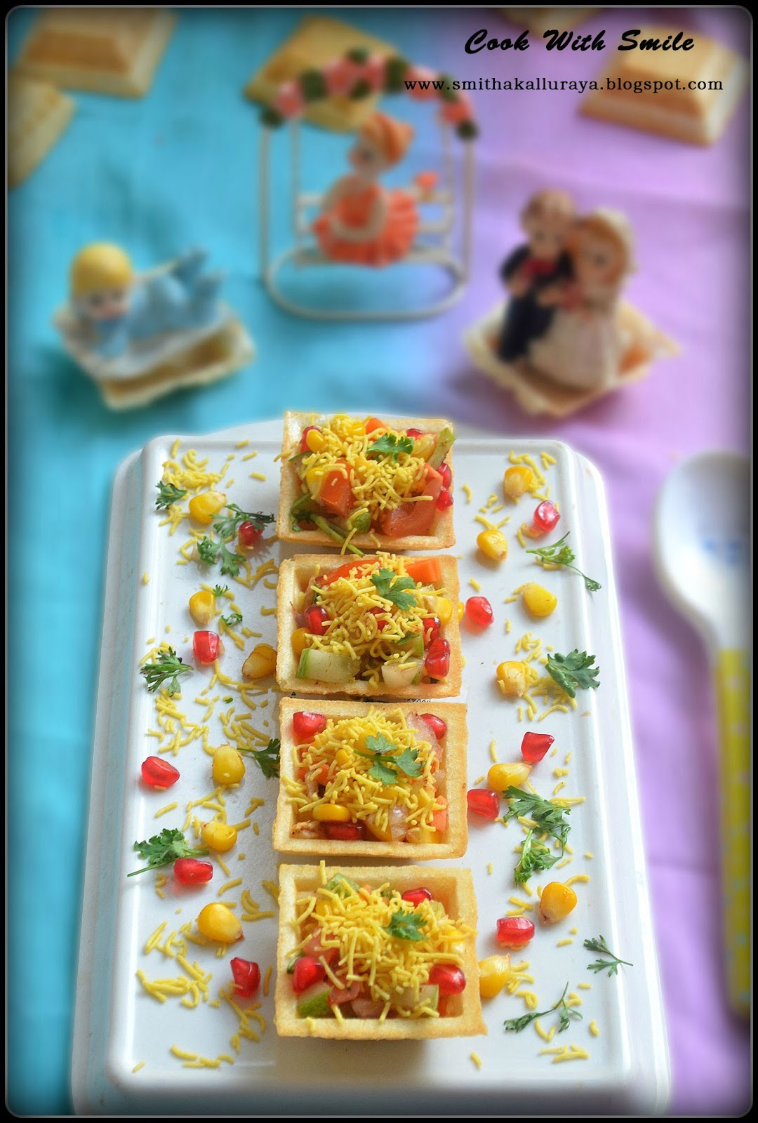 Corn canapes corn sev canapes indian canapes recipe for Simple canape ideas