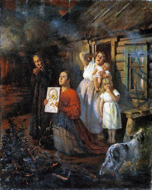 Бухгольц Федор Федорович.  Пожар в деревне.  1901.