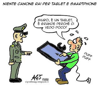 smartphone, tablet, canone RAI, tasse, evasione, vignetta satira