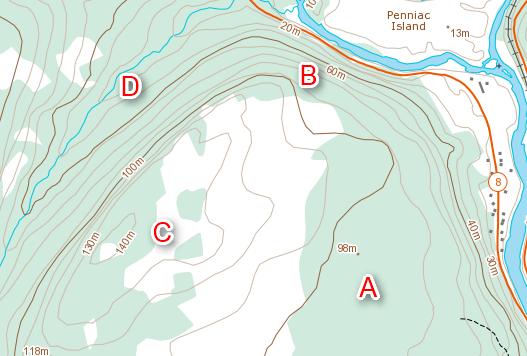 Contour map features