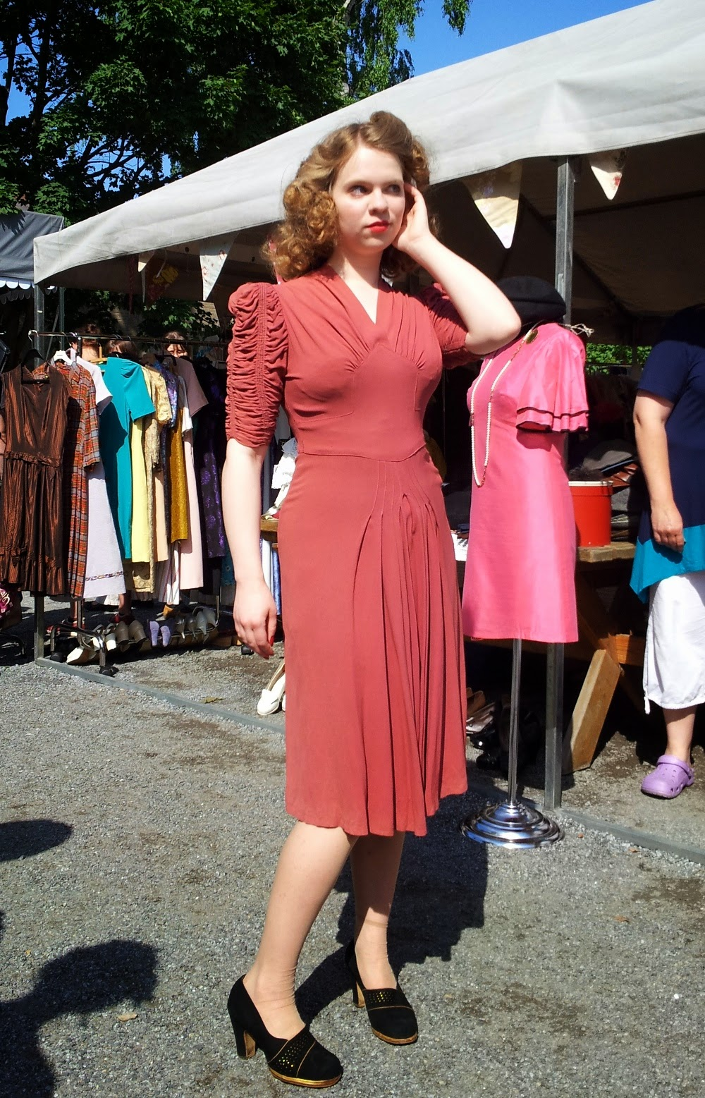 40s rayon crepe dress