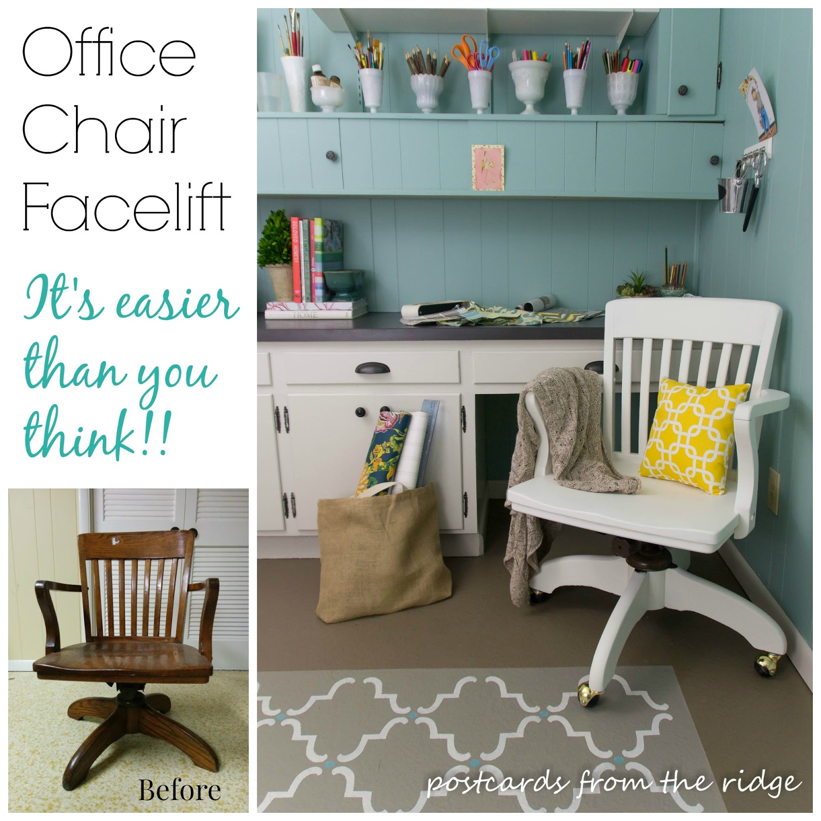 Simple facelift for a vintage swivel office chair. Anyone can do this! From Postcards from the Ridge.
