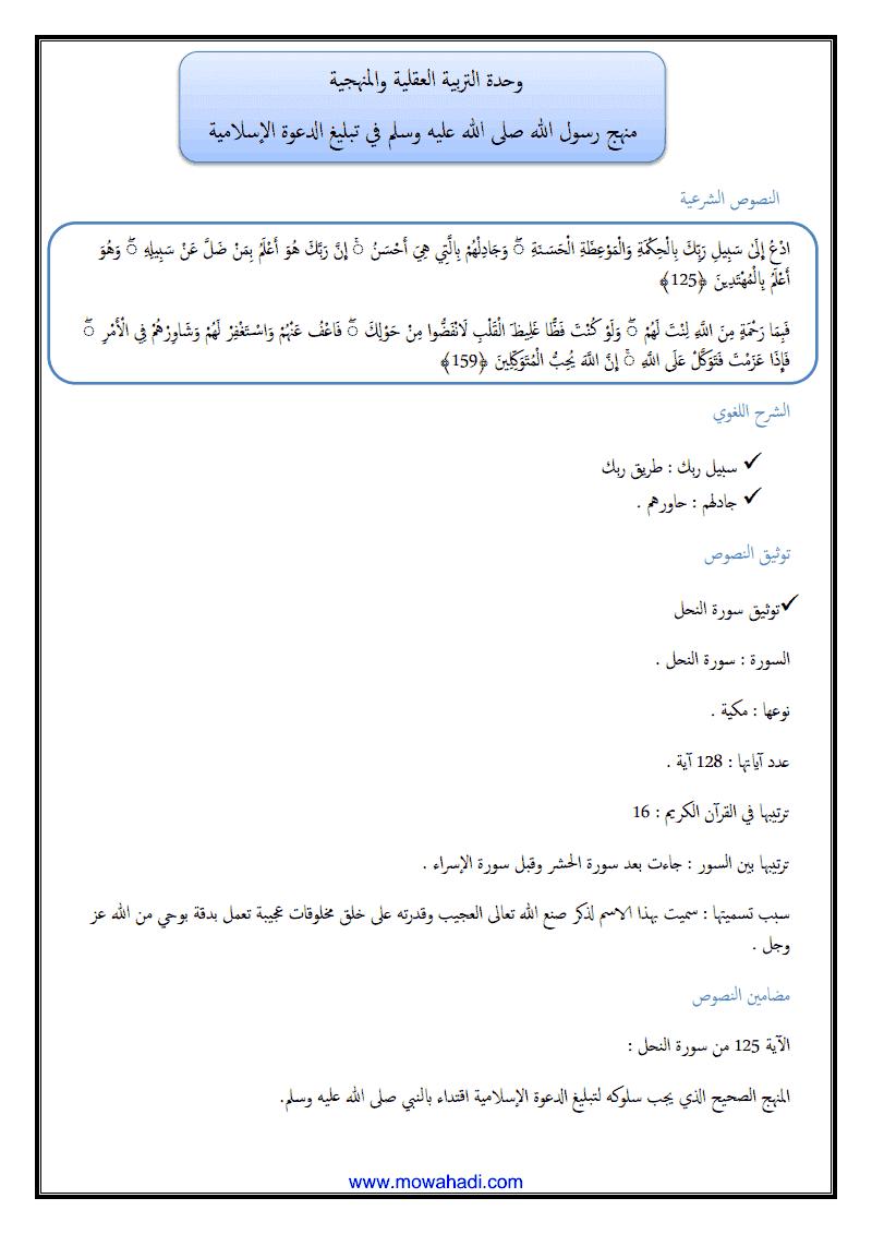 منهج الرسول (ص) في تبليغ الدعوة الاسلامية -1