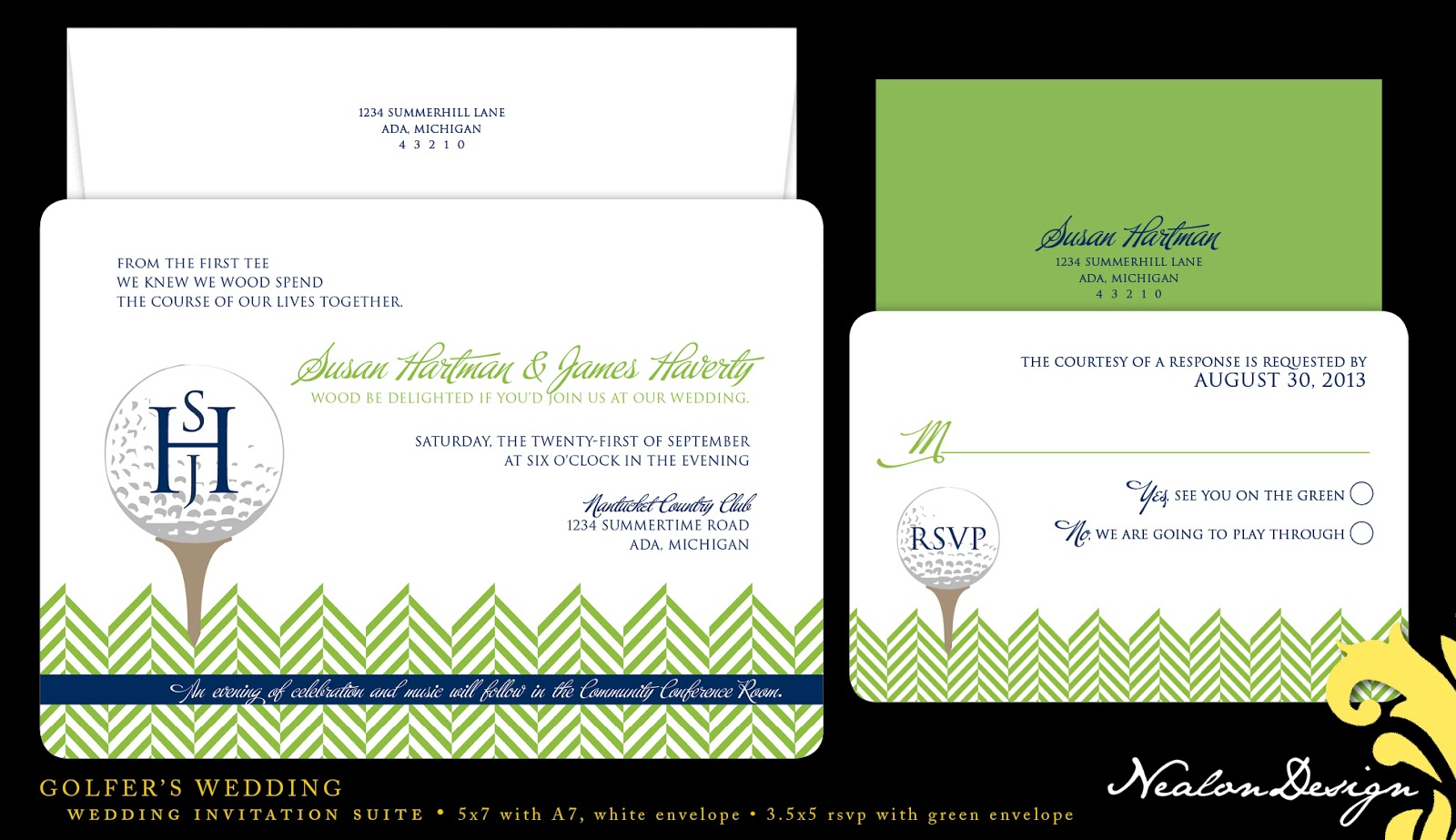 Nealon Design: Golfer\'s Wedding — Invitation Suite