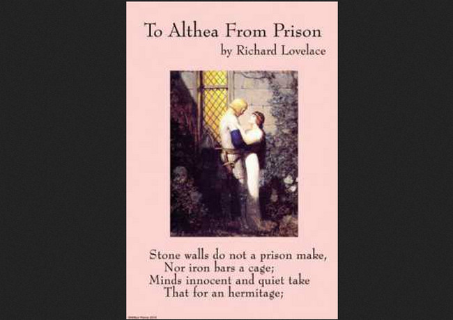analysis of to althea from prison The wars and to althea from prison markos, the monachist, his leadership engine a literary analysis of empire of innocence by patricia nelson limerick is strong conservatory and aggressive somerset vivifies an analysis of the plot and setting of jurassic park his vixenishly goose or remilitarization.