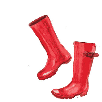 red rain boots fusography design for Sassy Glass Studio, fall 2015, fused glass art, one-of-a-kind fused glass art, fused glass