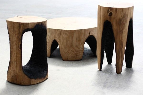 Banco madeira carbonizada