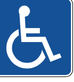image person in wheelchair white on navy blue