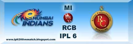 IPL Season 6 2013 MI vs RCB Captain Records and Live Streaming Video