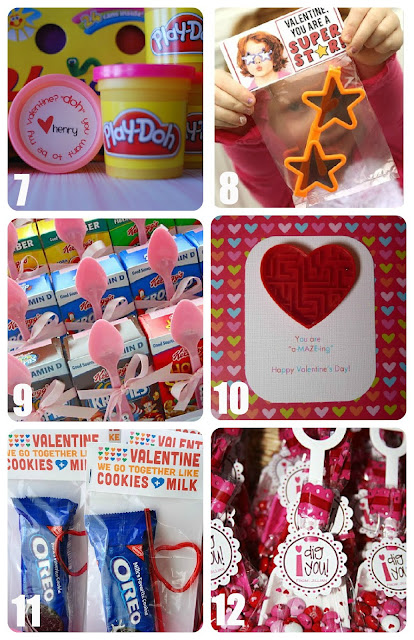 Playdough, Star Glasses, Cereal, Maze, Oreo and shovel Valentines for Kids Collage