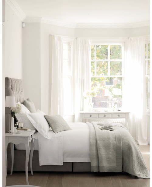 Faded white linen muted greys and dusky pink for Grey and white bedroom designs