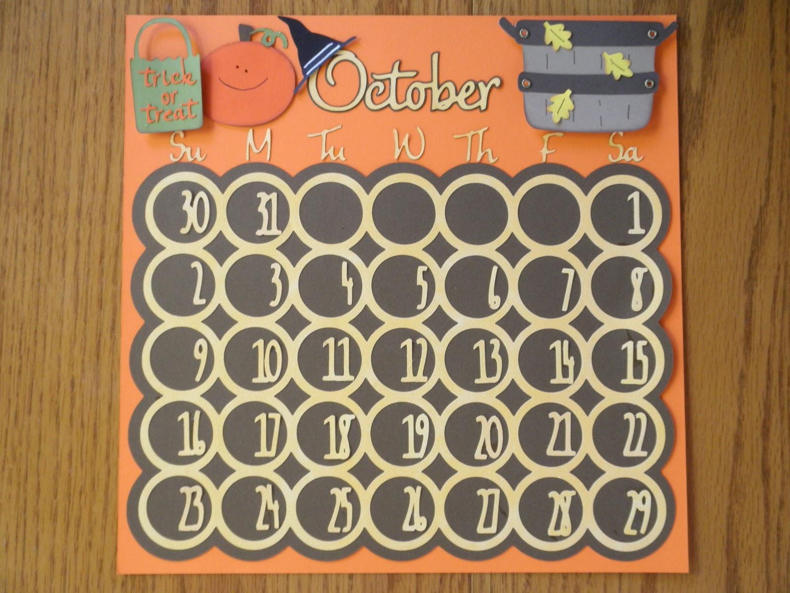Scrapbook ideas calendar pages - October Calendar Page