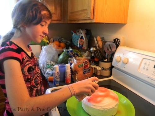 Rainbow Cake, Wilton Spray Mist