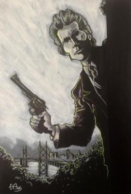 C'est l'été... C'est le retour de mes travaux du Clint. La reprise en tableau d'un de mes vieux croquis. Acrylique sur panneau acoustique. Guillaume Néel©