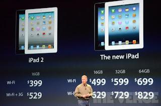 iPad 3 pricing table