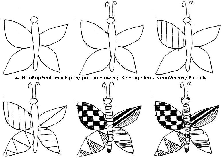 Kindergarten art: NeoPopRealism ink pen/ pattern drawing