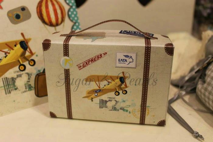 Μπομπονιέρα βαλιτσάκι με αεροπλανάκια παλιάς εποχής