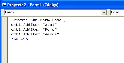 ComboBox AddItem Visual Basic