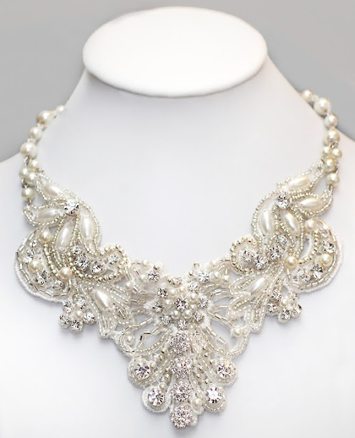 Stunning Hand Beaded statement bridal necklace