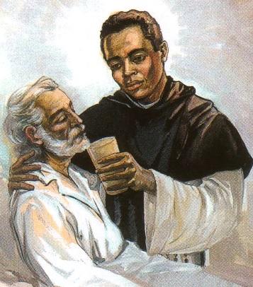Dibujo de San Martín de Porres cuidando de un enfermo