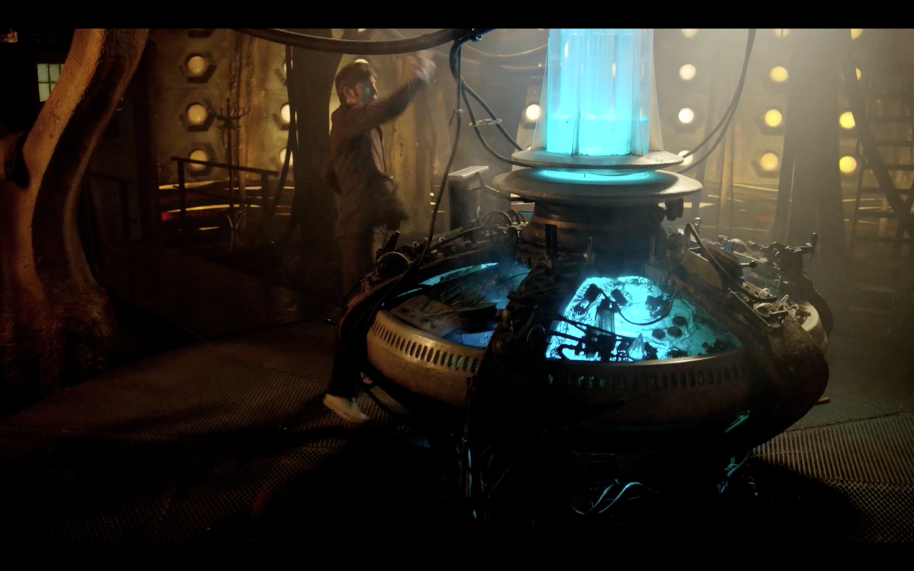 Yay! It's The Tenth Doctor in his TARDIS but, boo, some Dalek ships ...