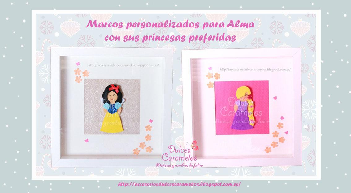 Fieltro DulcesCaramelos: Marcos para Alma con Blancanieves y Rapunzel