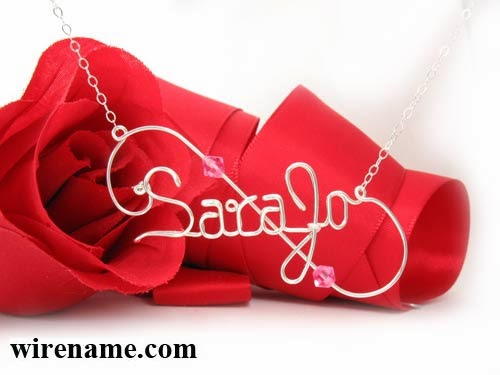 Sara Jo necklace in argentium silver wire, personalized jewelry