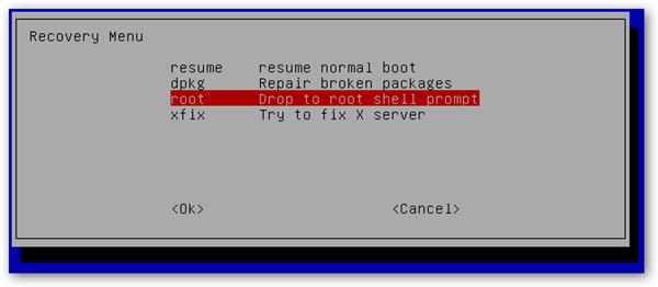 Membuka root shell untuk perbaikan