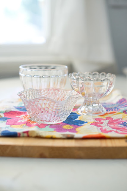 Glass ice cream dishes from Crate and Barrel
