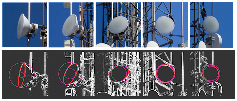 [Image: Five photos of the same directional microwave antenna, taken from different angles, and edge-detection and elliptical Hough transform results from each one, with a large and small circle for all ellipses.]
