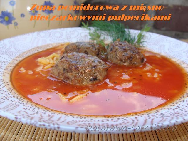 Zupa pomidorowa z mięsno-pieczarkowymi pulpecikami
