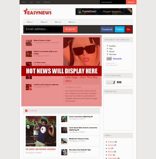Hot Placer - Easy News – Free Responsive Magazine Blogger Template