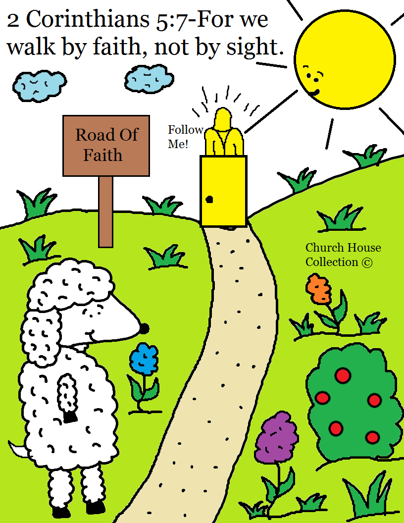 Junior church lessons and crafts - I Made A Free Printable Coloring Page For Kids To Color In Sunday School Or Children S Church It Has The Scripture From 2 Corinthians 5 7 For We Walk By