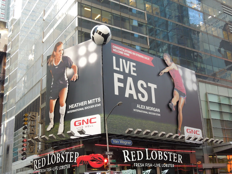 GNC womens soccer billboard installation NYC
