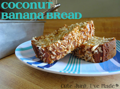 Skinny Coconut Banana Bread slices with title