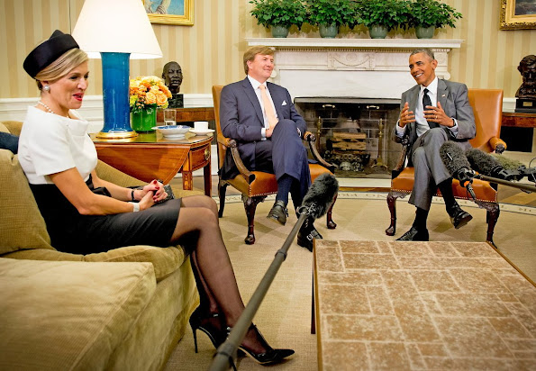 President Barack Obama meets with King Willem-Alexander and Queen Maxima of the Netherlands in the Oval Office