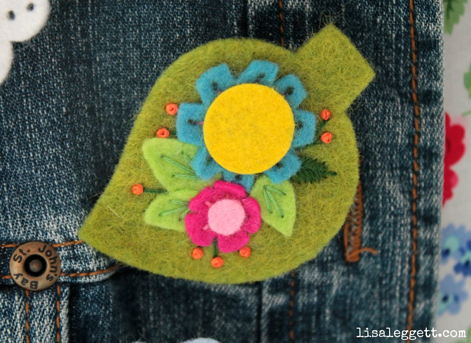 Floral Leaf Embroidered Broach by Lisa Leggett