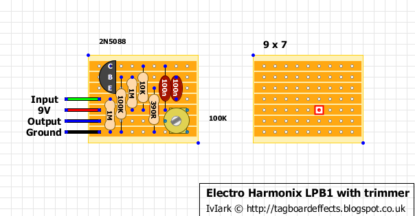 Guitar FX Layouts: Electro Harmonix LPB1 with trimmer on