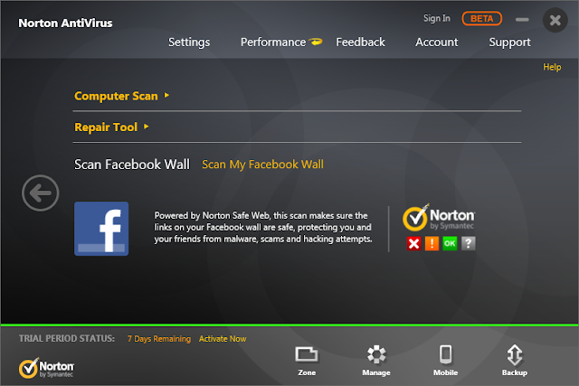 scan facebook wall with norton antivirus 2014