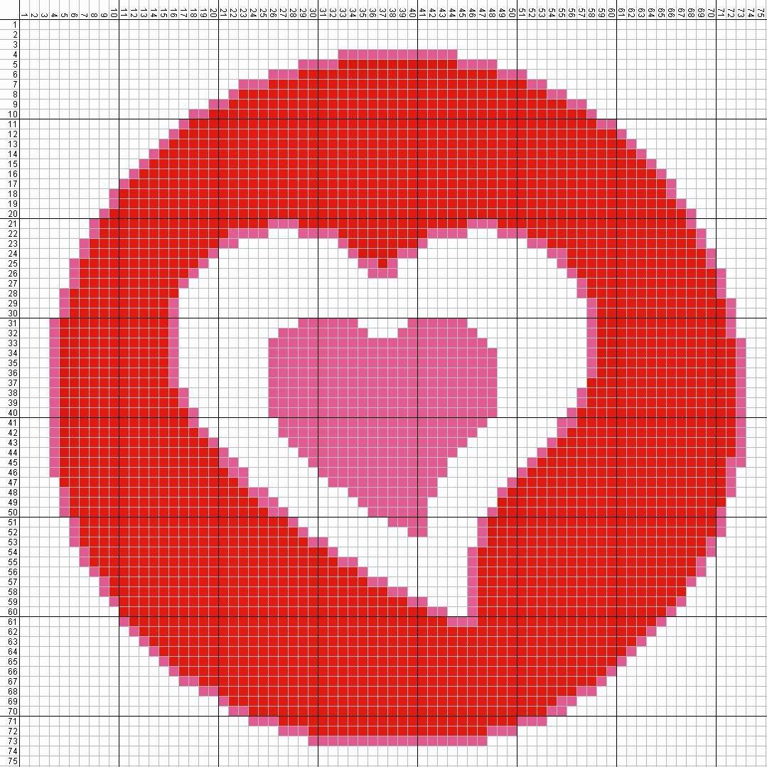 Gambar Pola Kristik Sederhana Tanda Cinta - Hati (3)