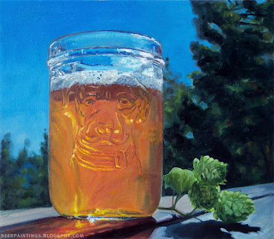 Lagunitas beer painting with hops