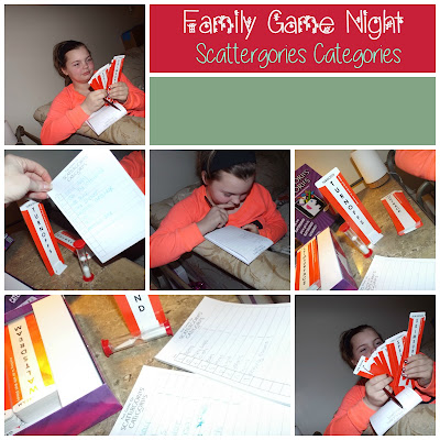 Family Game Night with Scattergories Categories