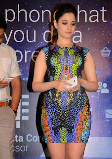 Actress Tamannaah  Picture in Short Dress at Celkon Mobile OCT A510 Launch  179