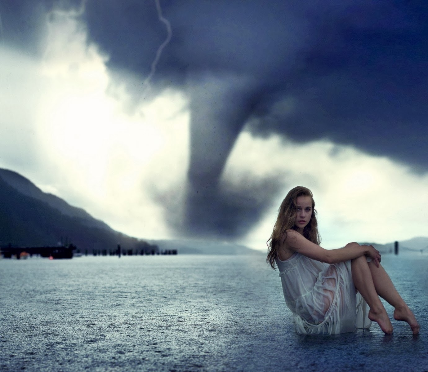 Women storm models, weather tornadoes photo manipulations