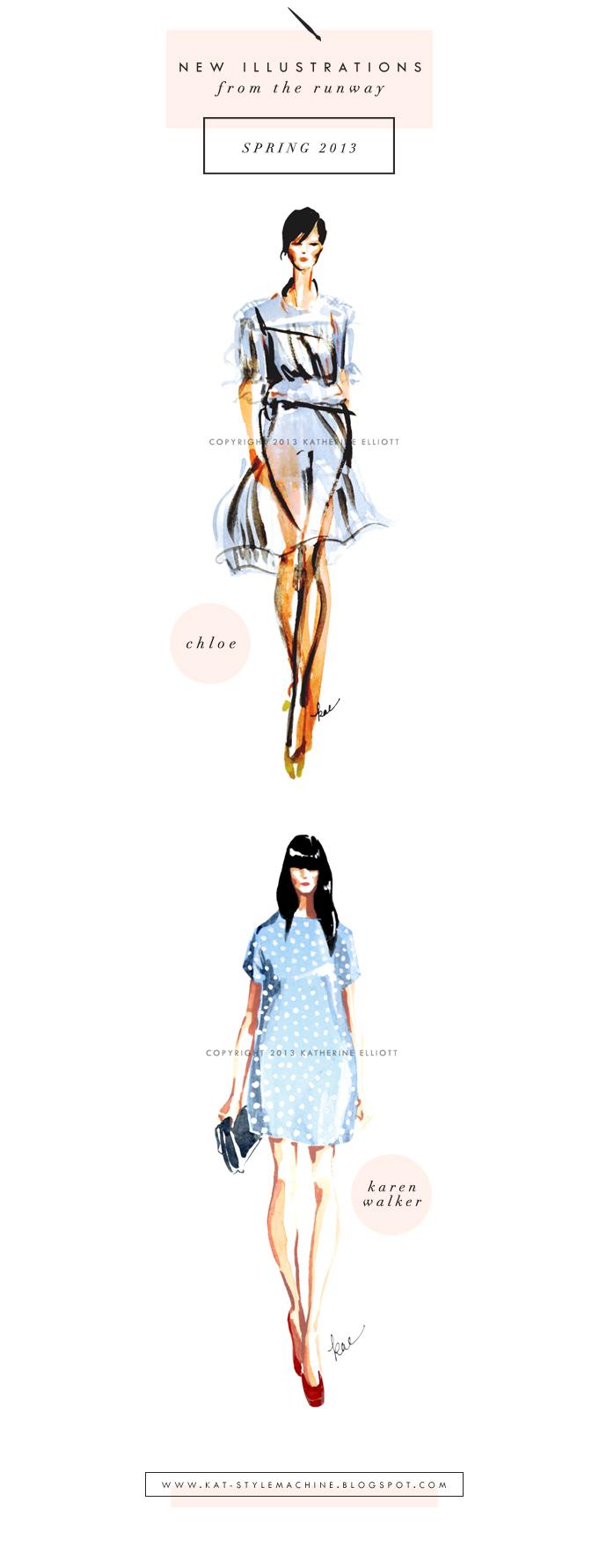 fashion illustration runway shows spring 2013 karen walker and chloe dresses