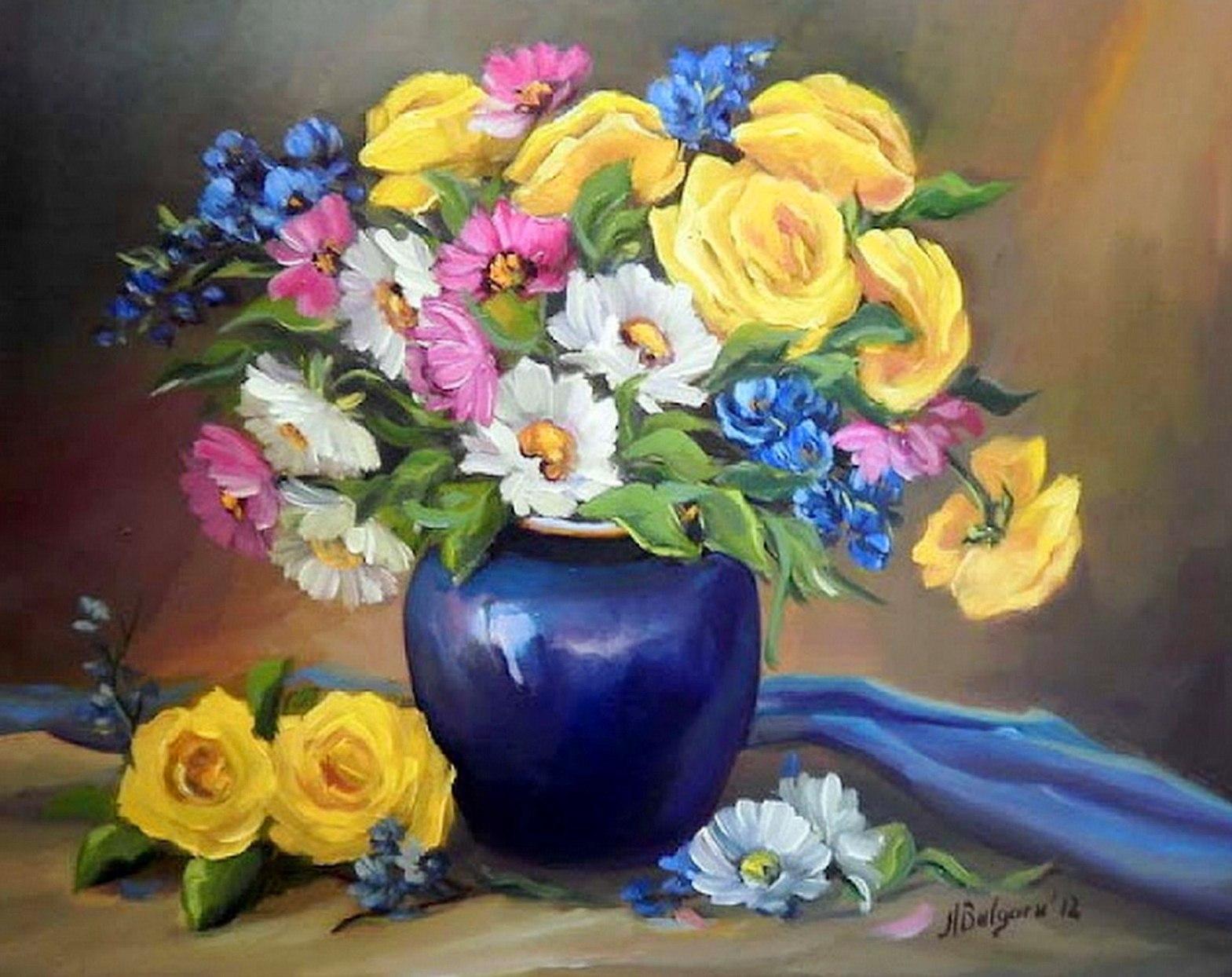 cuadros pintados de jarrones con flores