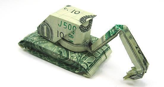 Origami Dollar bentuk Buldoser